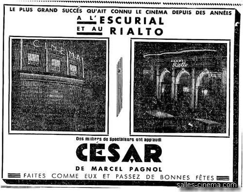 Pavé de presse pour la sortie de CESAR le 18/12/36 dans le tandem ESCURIAL/RIALTO