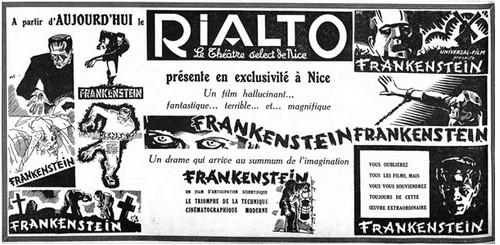 Pavé de presse pour la sortie de FRANKENSTEIN au RIALTO, le 9/12/32