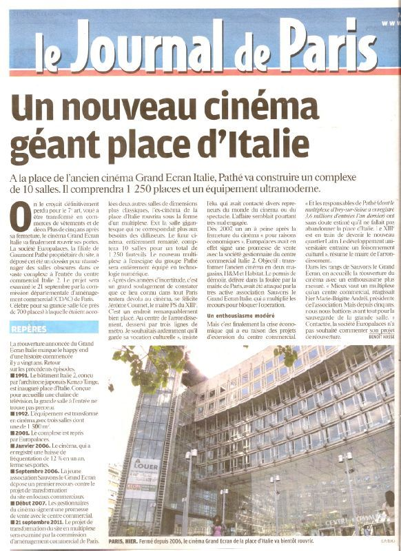 projet du multiplexe de la place d 39 italie paris salles cinema com. Black Bedroom Furniture Sets. Home Design Ideas
