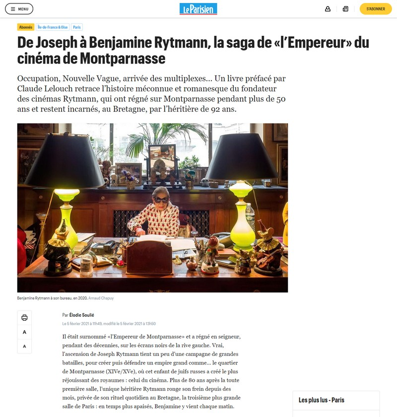 De Joseph à Benjamine Rytmann, la saga de «l'Empereur» du cinéma de Montparnasse